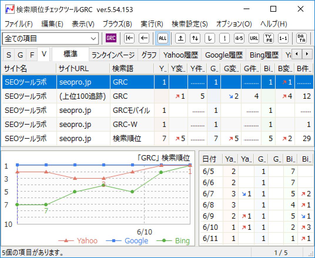 検索順位チェックツール「GRC」の順位取得サンプル画像