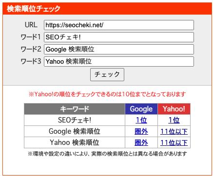 検索順位チェックツール「SEOチェキ!」の順位取得サンプル画像